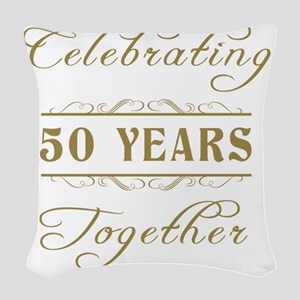 Celebrating 50 Years Together Woven Throw Pillow