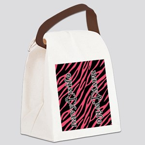 Hot Pink Zebra Navy Wife Canvas Lunch Bag