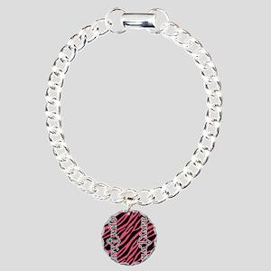 Hot Pink Zebra Navy Wife Charm Bracelet, One Charm