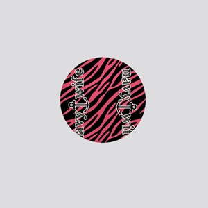 Hot Pink Zebra Navy Wife Mini Button