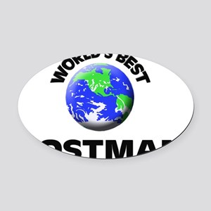 World's Best Postman Oval Car Magnet