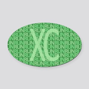 XC Run Run Green Oval Car Magnet