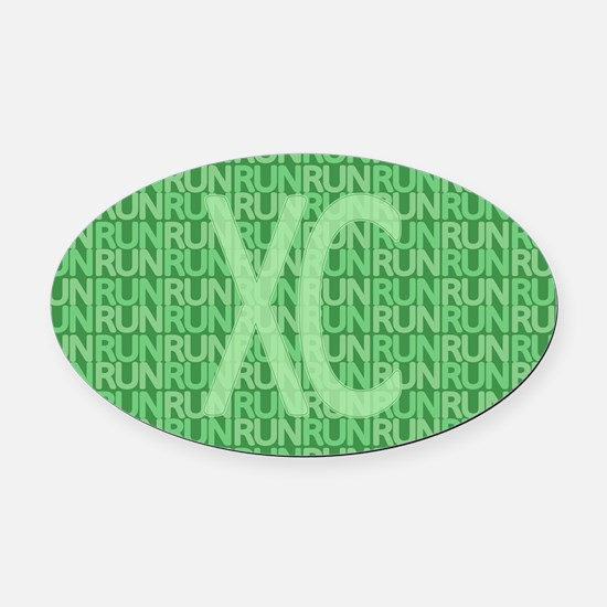 XC Run Run Green Oval Car Magnet
