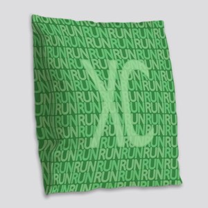 XC Run Run Green Burlap Throw Pillow