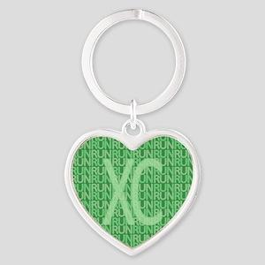 XC Run Run Green Heart Keychain