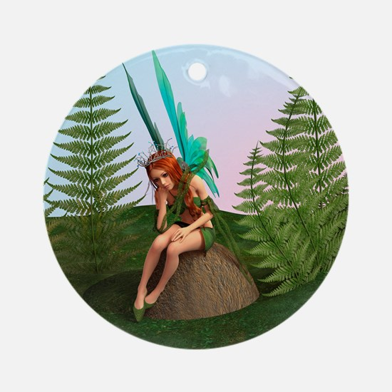 Thoughtful Fairy Round Ornament