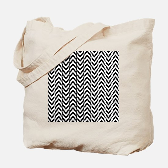 Chevron Zig Zag Pattern Black Tote Bag