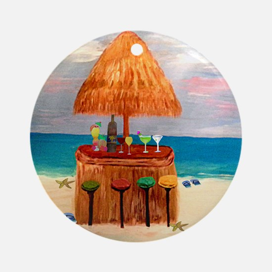 Tiki Bar Round Ornament