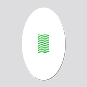 Chevron Zig Zag Pattern Gree 20x12 Oval Wall Decal