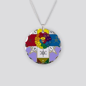 Rose Cross Necklace Circle Charm
