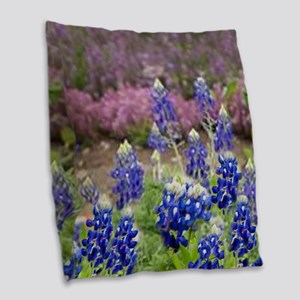 BLUEBONNET SHOWER CURTAIN Burlap Throw Pillow