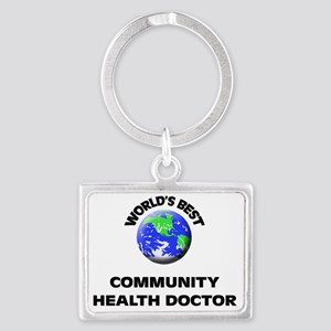 World's Best Community Health D Landscape Keychain