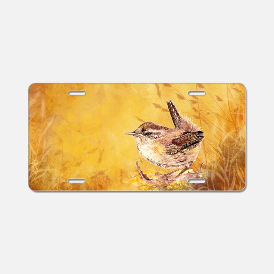 Watercolor Wren Bird Aluminum License Plate