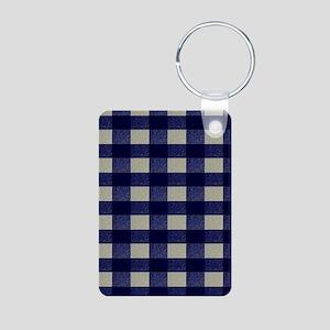 Blue and Cream Checked Pla Aluminum Photo Keychain