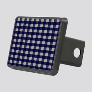 Blue and Cream Checked Pla Rectangular Hitch Cover