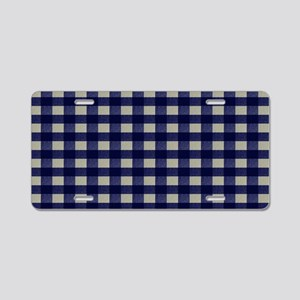 Blue and Cream Checked Plai Aluminum License Plate