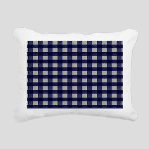 Blue and Cream Checked P Rectangular Canvas Pillow