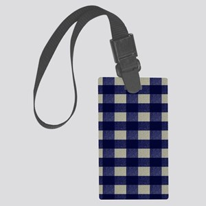 Blue and Cream Checked Plaid Large Luggage Tag