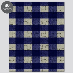 Blue and Cream Checked Plaid Puzzle