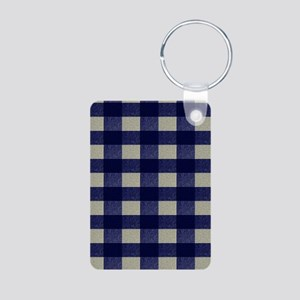 Blue and Cream Checked Pla Aluminum Photo Keychain
