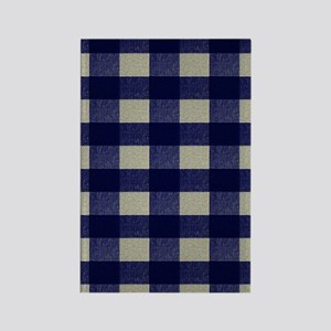 Blue and Cream Checked Plaid Rectangle Magnet