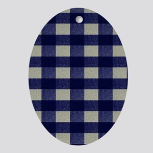 Blue and Cream Checked Plaid Oval Ornament