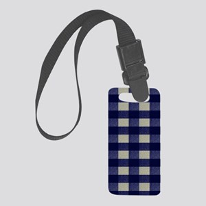 Blue and Cream Checked Plaid Small Luggage Tag