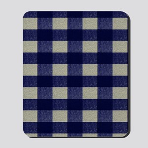 Blue and Cream Checked Plaid Mousepad
