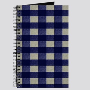 Blue and Cream Checked Plaid Journal