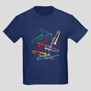 Colorful Trombones Kids Dark T-Shirt