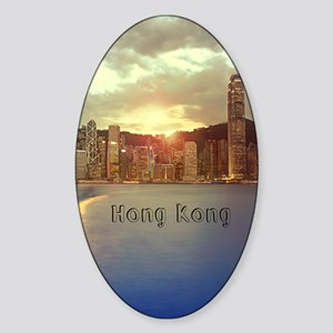 HongKong_5.5x8.5_Journal_Skyline_Ce Sticker (Oval)