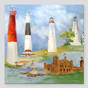 """New Jersey Light houses Square Car Magnet 3"""" x 3"""""""