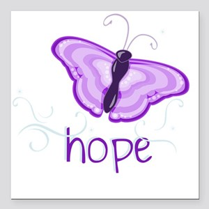 """Hope Floats in Purple Square Car Magnet 3"""" x 3"""""""
