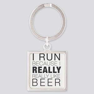 Run for Beer. Square Keychain