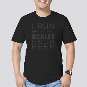 Run for Beer. Men's Fitted T-Shirt (dark)