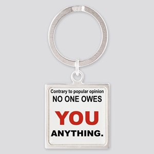 CONTRARY TO POPULAR OPINION Square Keychain