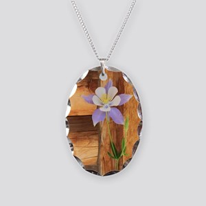 Columbine and Wood Necklace Oval Charm