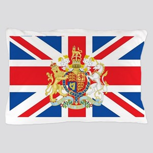 British Flag with Royal Crest Pillow Case