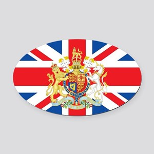 British Flag with Royal Crest Oval Car Magnet