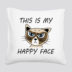 This Is My Happy Face Square Canvas Pillow