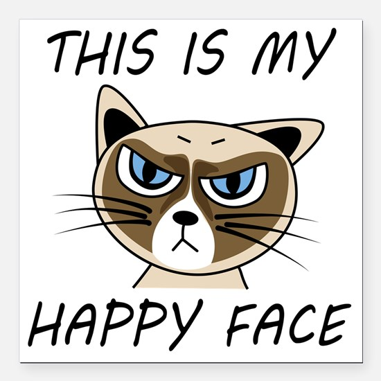 """This Is My Happy Face Square Car Magnet 3"""" x 3"""""""