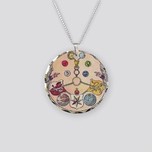 Rosicrucian Rose Necklace Circle Charm
