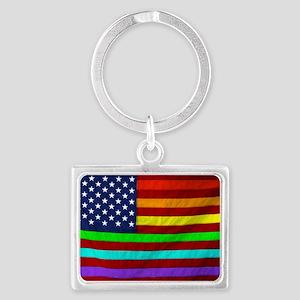 Gay Rights Rainbow Patriotic Fl Landscape Keychain