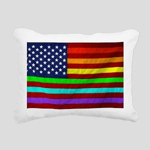 Gay Rights Rainbow Patri Rectangular Canvas Pillow