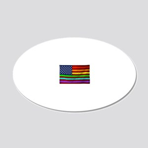 Gay Rights Rainbow Patriotic 20x12 Oval Wall Decal