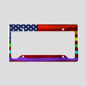 Gay Rights Rainbow Patriotic  License Plate Holder