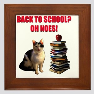 Back to school cat Framed Tile