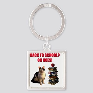 Back to school cat Square Keychain
