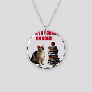 Back to school cat Necklace Circle Charm