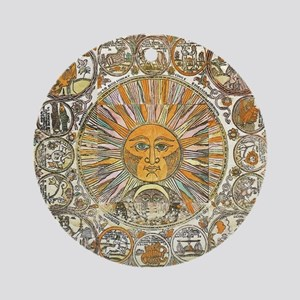Sun with Faces Round Ornament